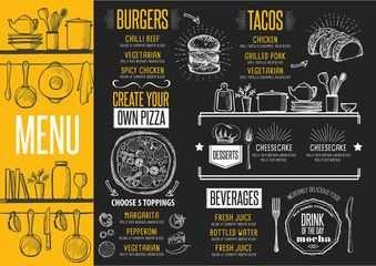 Vektor Menu Restaurant Food Template Placemat Menu De Comidas