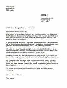 Initiativbewerbung Muster Vorlage Schweiz Initiativbewerbung