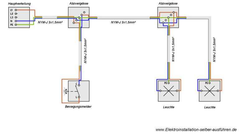 Schaltplan Eines Bewegungsmelders Ohne Neutralleiter Mit Zwei