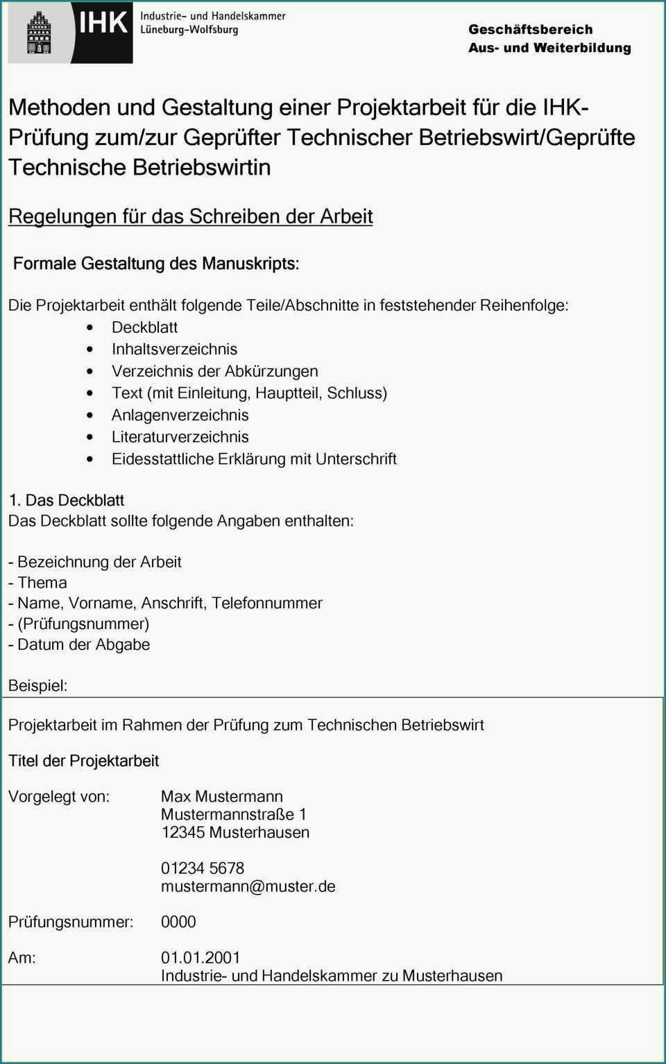 Projektarbeit Betriebswirt Ihk Muster Betriebswirt