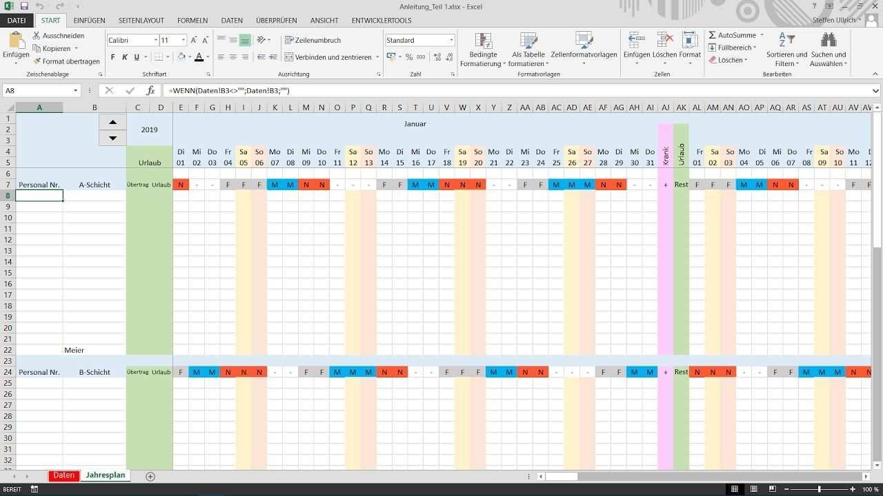 Excel Schichtplan Erstellen Teil 4 Datenubernahme Und Formatierung