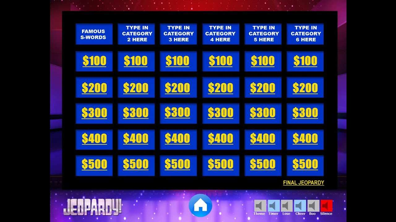 Jeopardy Powerpoint Game Template Youth Downloads