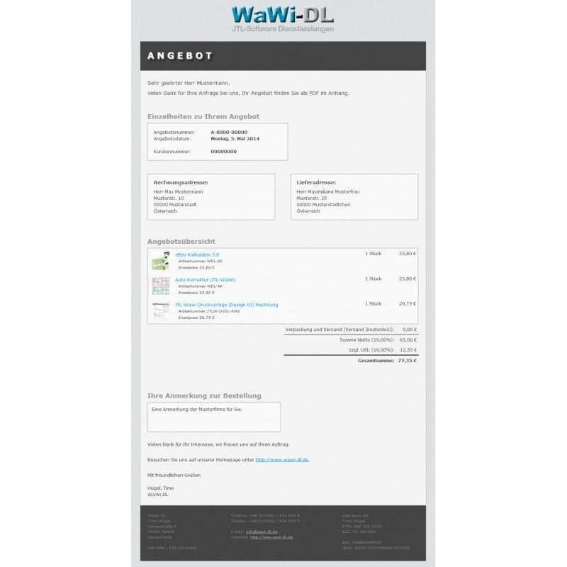 Jtl Wawi Email Vorlagen Set Html Design 01 Top 20