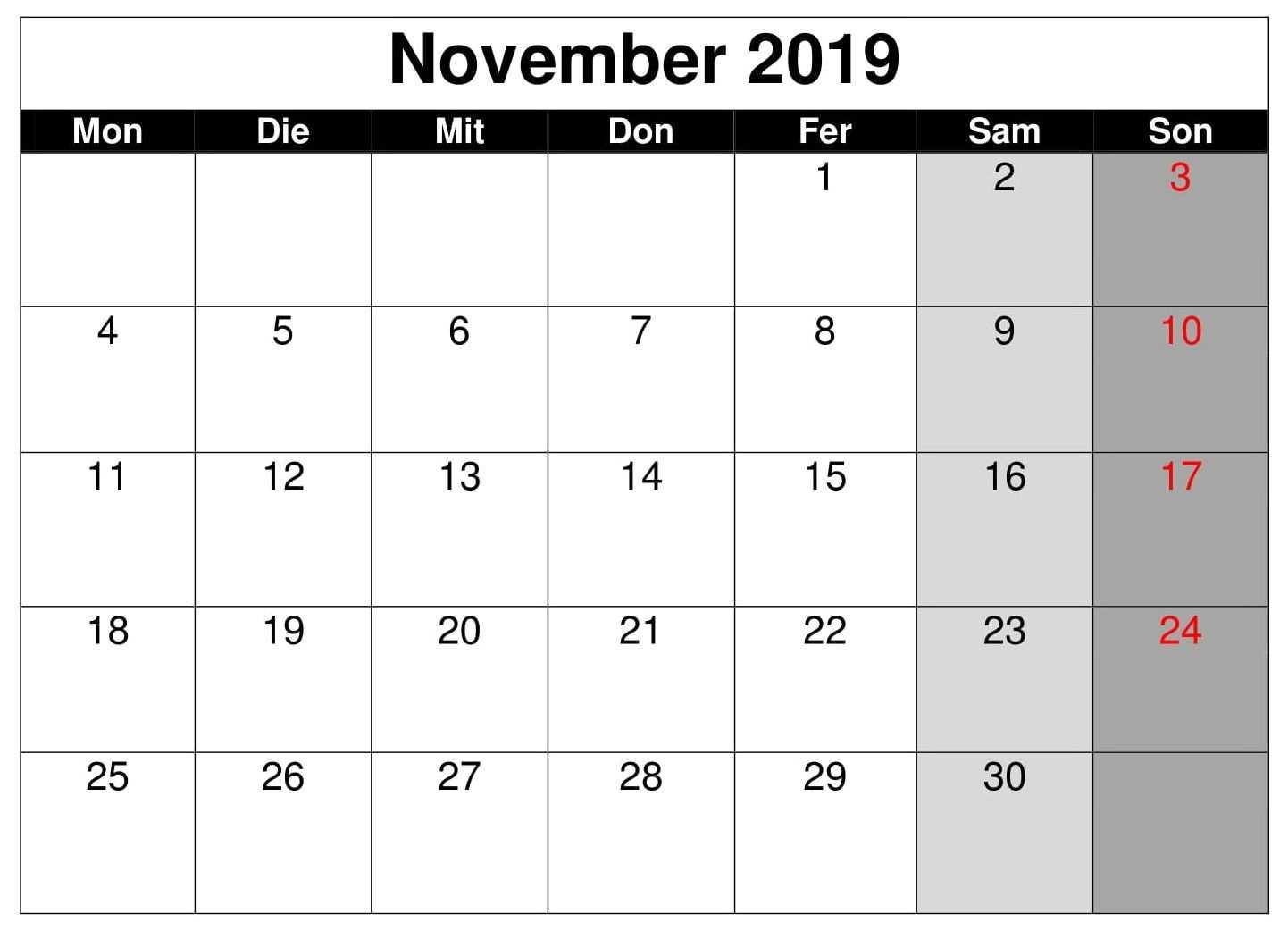 Kalender November 2019 Druckbare Vorlage Pdf Word Excel