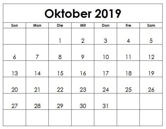 Kalender Oktober 2019 Druckbare Vorlage Pdf Word Excel Monthly