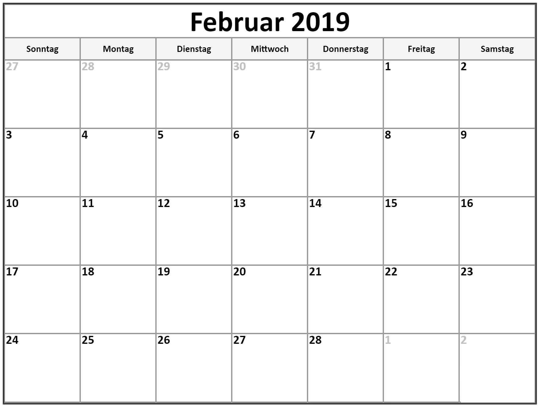 Kalender Februar 2020 In Pdf Word Excel Druckbare Vorlage