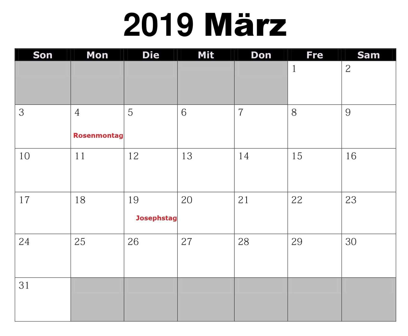 Kalender Marz 2019 Druckbare Vorlage Pdf Word Excel 2019