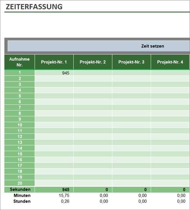 Zeiterfassung Mit Excel Tool Fur Projektzeiterfassung