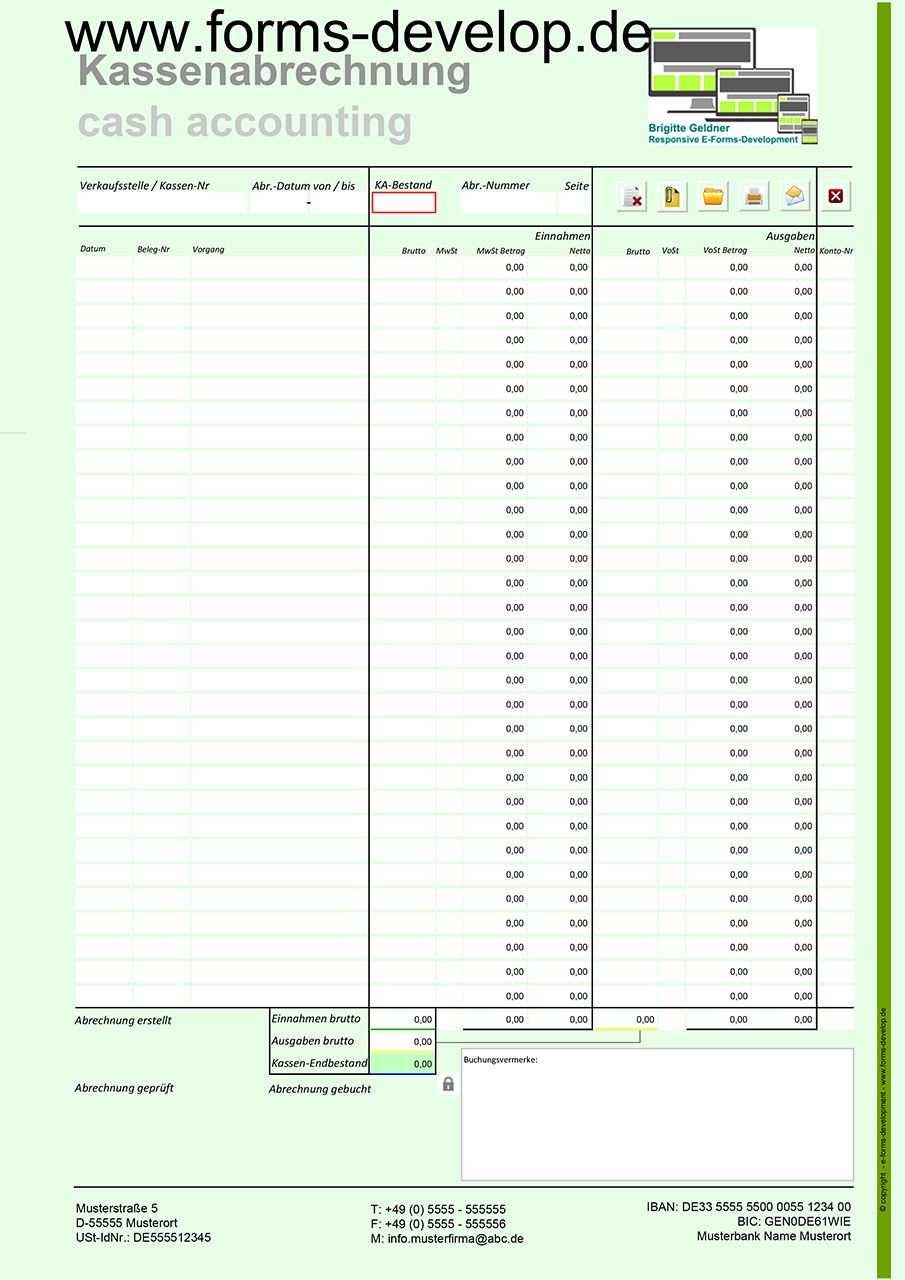 Pdf Kassenbuch Kassenbericht Verkaufsstelle Kostenstelle