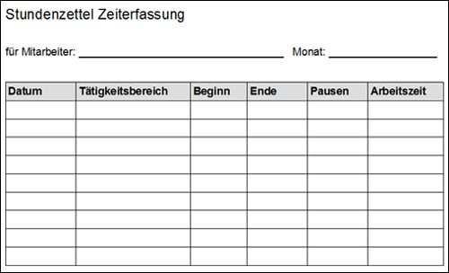 Stundenzettel Vorlage Vorlagen Word Vorlagen Zettel