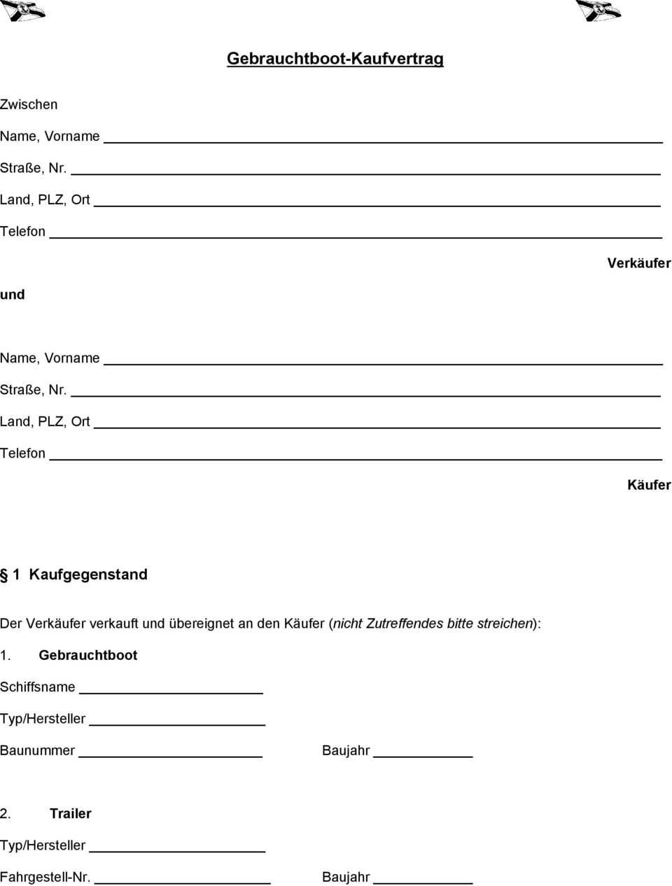 Musterkaufvertrag Fur Gebrauchtboote Pdf Kostenfreier Download
