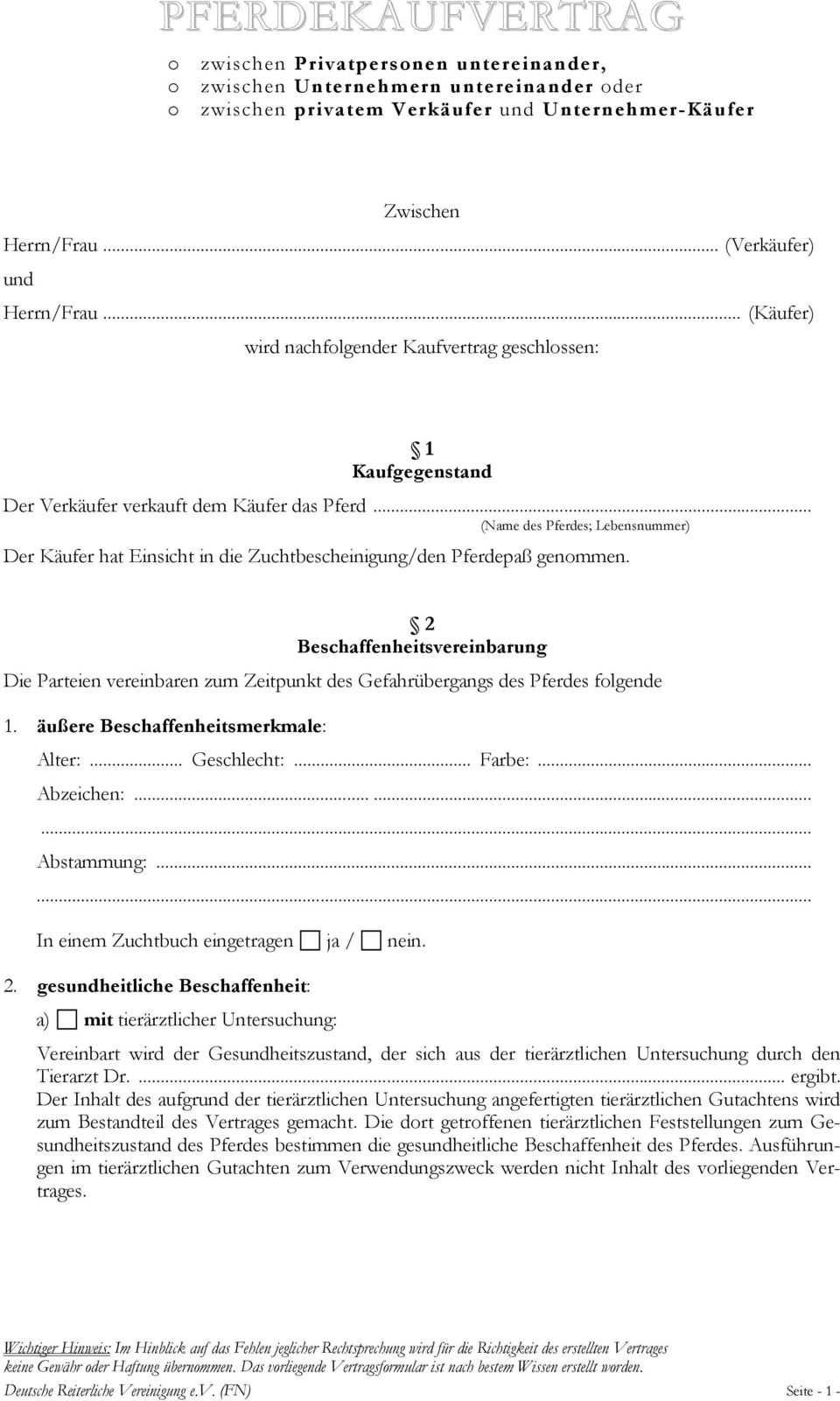 Pferdekaufvertrag Zwischen Herrn Frau Verkaufer Und Herrn
