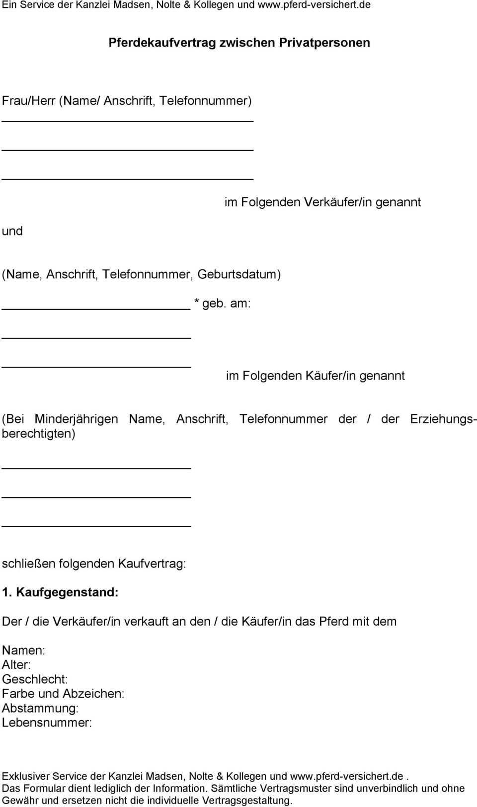 Pferdekaufvertrag Zwischen Privatpersonen Pdf Free Download