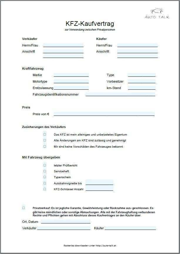 Privater Kaufvertrag Kuche 13 Kfz Kaufvertrag Zum Ausdrucken