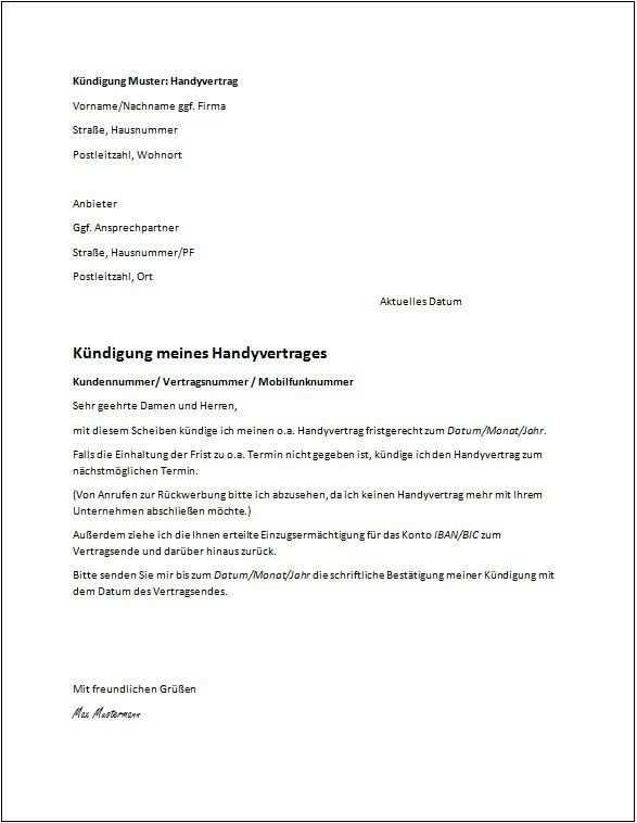Mietvertrag Kundigung Vorlage Handyvertrag Kundigung Schreiben