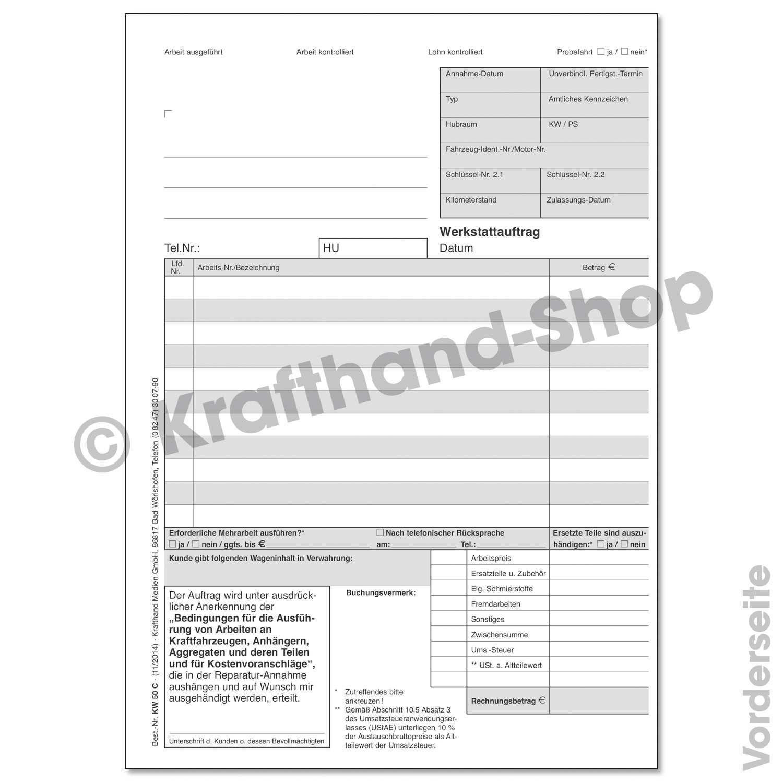 Krafthand Werkstattauftragskarte Online Kaufen