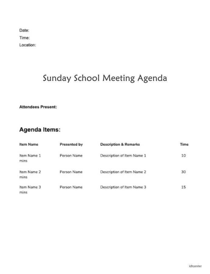 Sunday School Meeting Agenda In 2020 Meeting Agenda Meeting