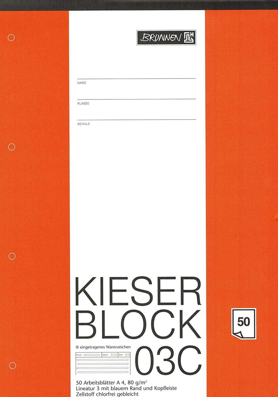 Kieserblock 03c Brunnen 50 Blatt Lineatur 3 Dina4 80 G