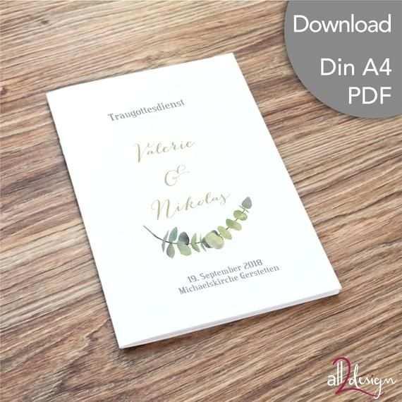Programmheft Kirchliche Freie Trauung Eukalyptus Karte Hochzeit