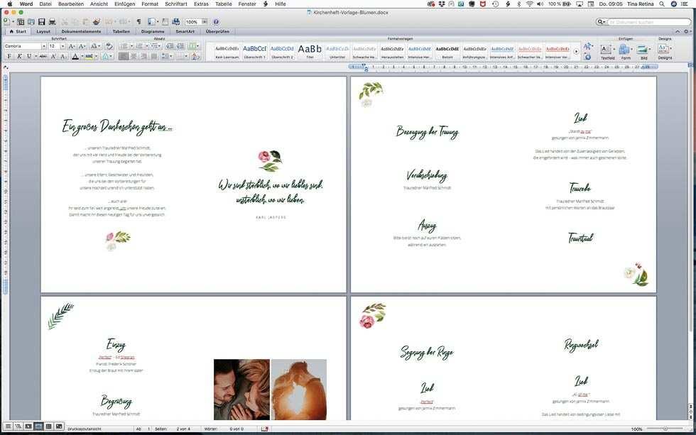 Kirchenheft Hochzeit Vorlage So Erstellt Ihr Ein Mehrseitiges Heft