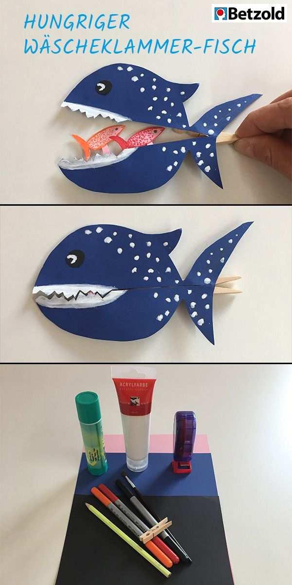 Hungriger Fisch Anleitung Tonpapier Buntstifte Fische