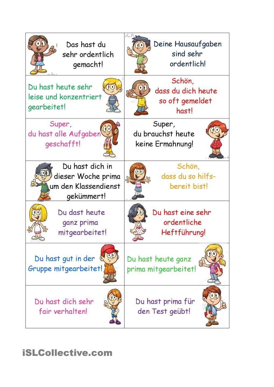 Lobkarten Schulideen Klassenregeln Grundschule Zeugnis Grundschule
