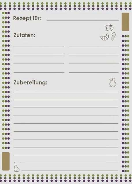 Freebie Friday Rezeptkarte Kochbuch Selbst Gestalten Vorlage