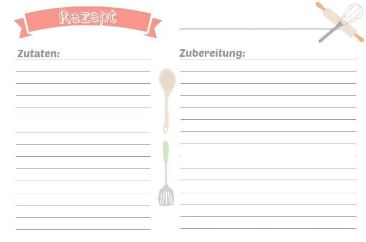 Rezeptkarte Kochbuch Selbst Gestalten Rezeptkarten Kochbuch