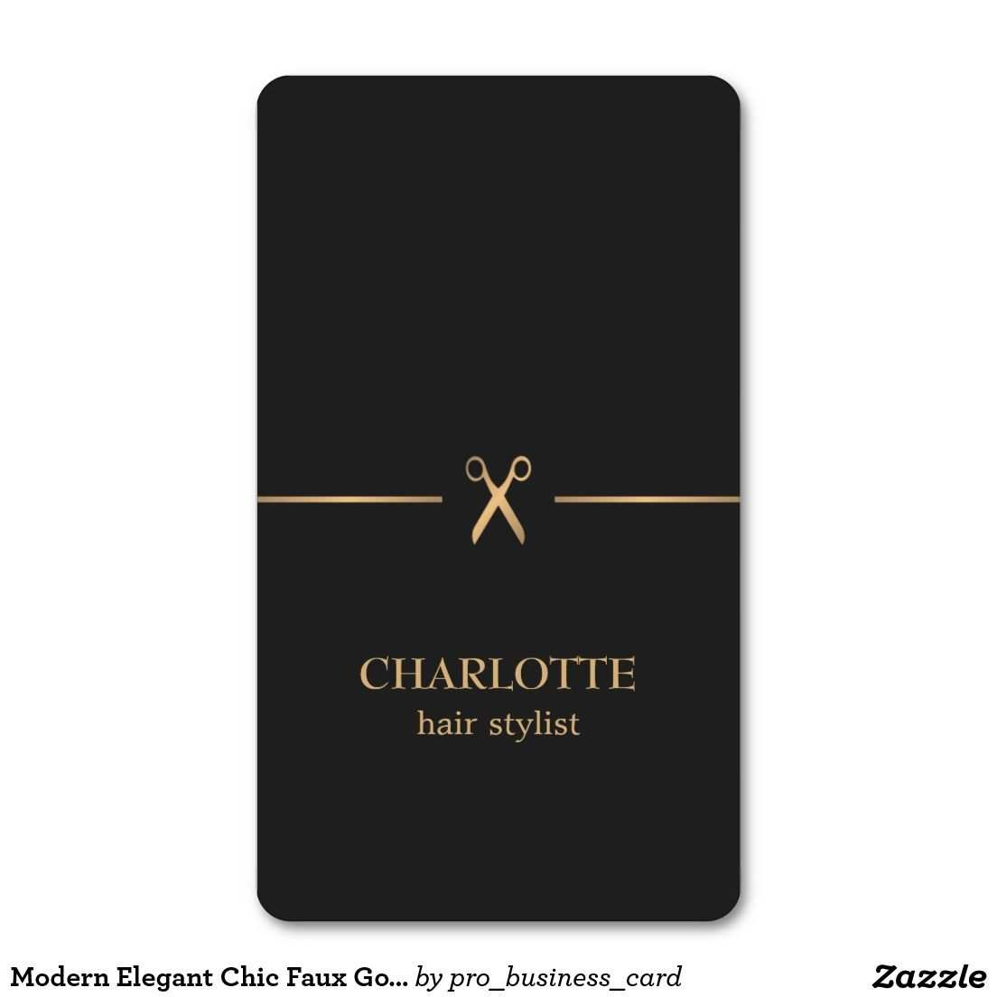 Modern Elegant Chic Faux Gold Black Hair Stylist Business Card