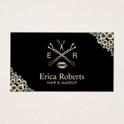 Makeup Artist Beauty Salon Modern Gold Sequins Business Card