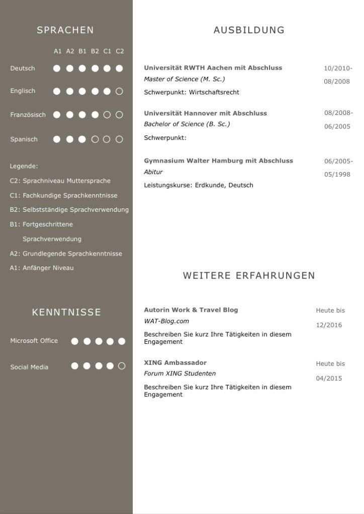 Bewerbungsvorlage Premium Bernstein Fur Viel Berufserfahrung