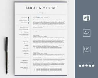 Resume Template With Cover Letter Instant Download Best Cv