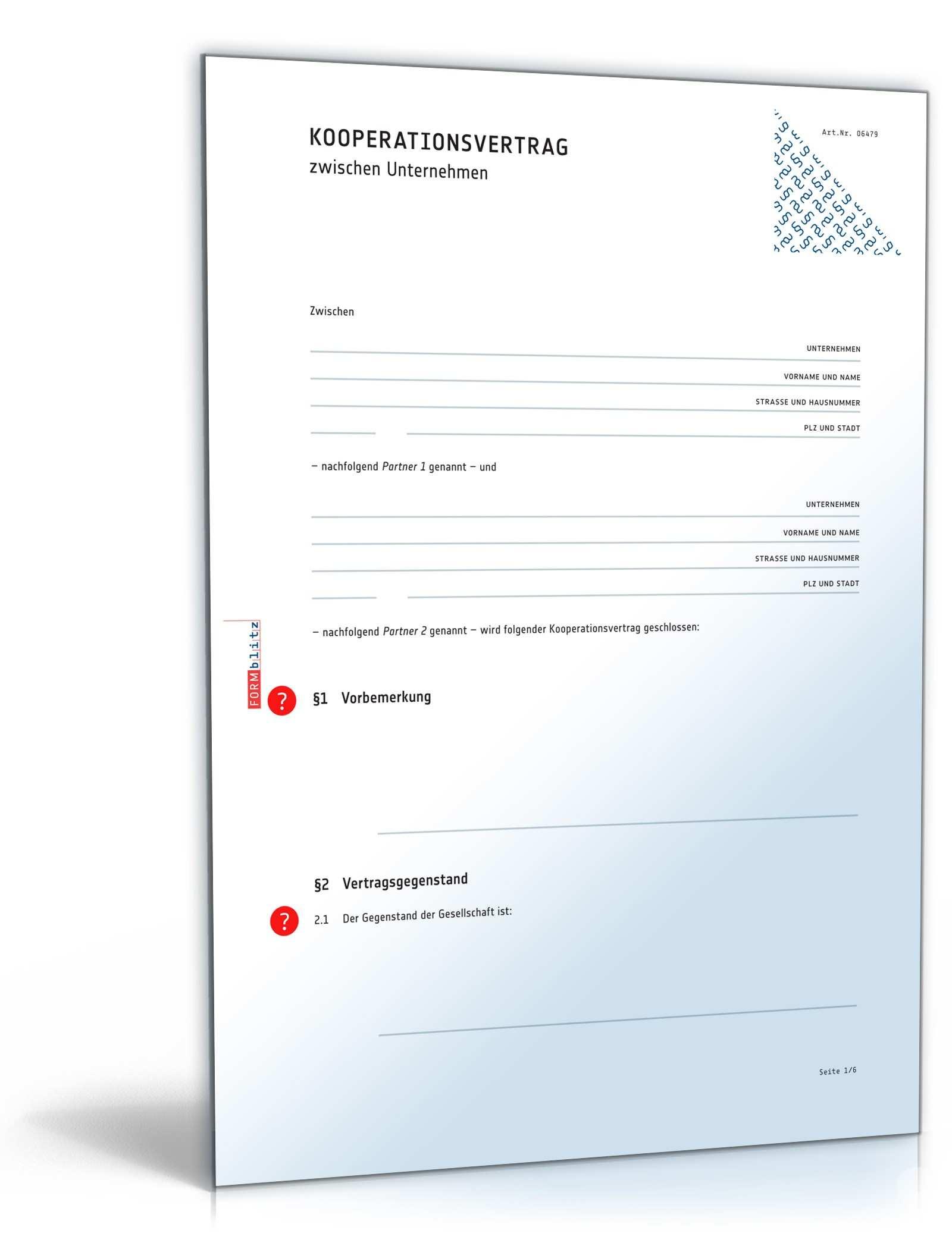 Kooperationsvertrag Muster Fur Kooperationen Von Firmen