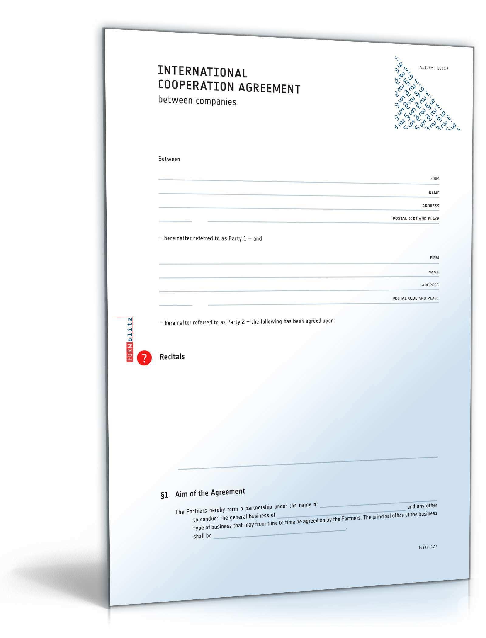 Internationaler Kooperationsvertrag Englisch Muster Zum Download