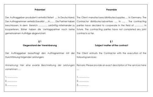 Kooperationsvertrag Deutsch Englisch Vorlage Zum Download