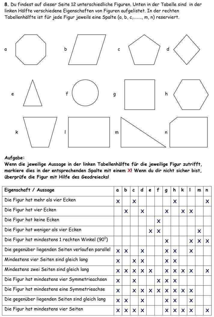 Klassenarbeit Zu Geometrie Mathematikunterricht Leichter Lernen