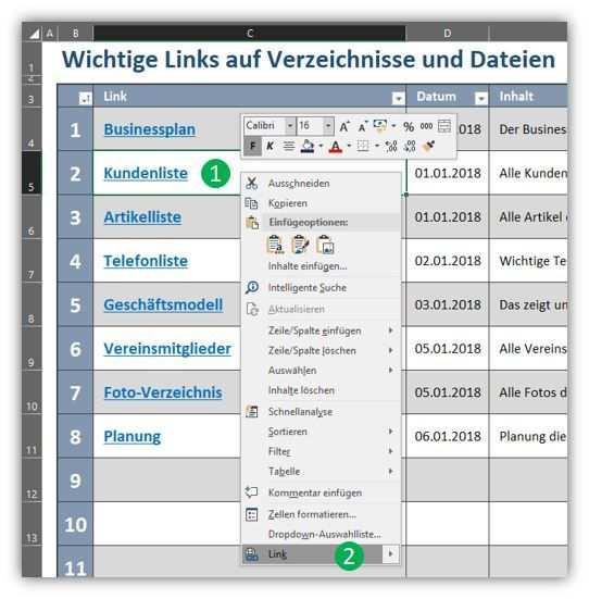 Navigation Mit Hyperlinks In Excel Vorlagen Excel Vorlage