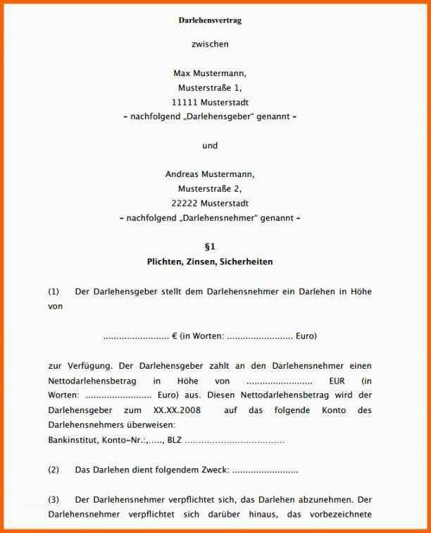 Darlehensvertrag Vorlage Kostenlos In 2020 Briefkopf Vorlage