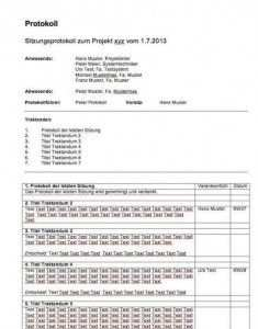 Protokoll Vorlage Fur Word Und Excel Vorlagen Arbeitszeugnis