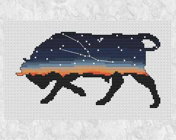 Taurus Bull Zodiac Cross Stitch Pattern Modern Printable