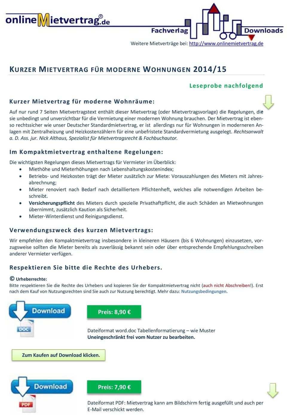 Kurzer Mietvertrag Fur Moderne Wohnungen 2014 15 Pdf Free Download