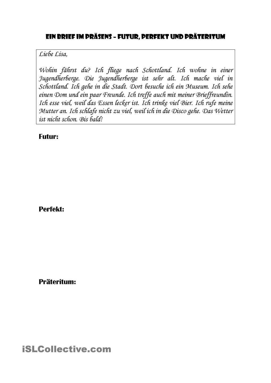 Ein Brief Im Prasens Futur Perfekt Prateritum Schreiben Ein