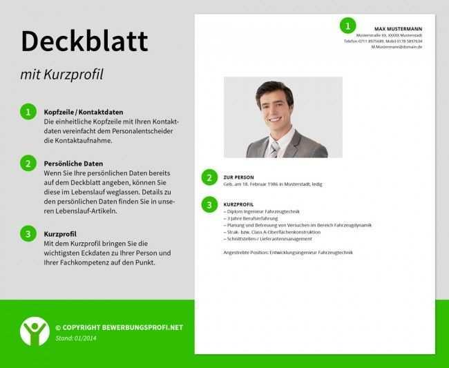 Deckblatt Bewerbung Kurzprofil Deckblatt Bewerbung Lebenslauf