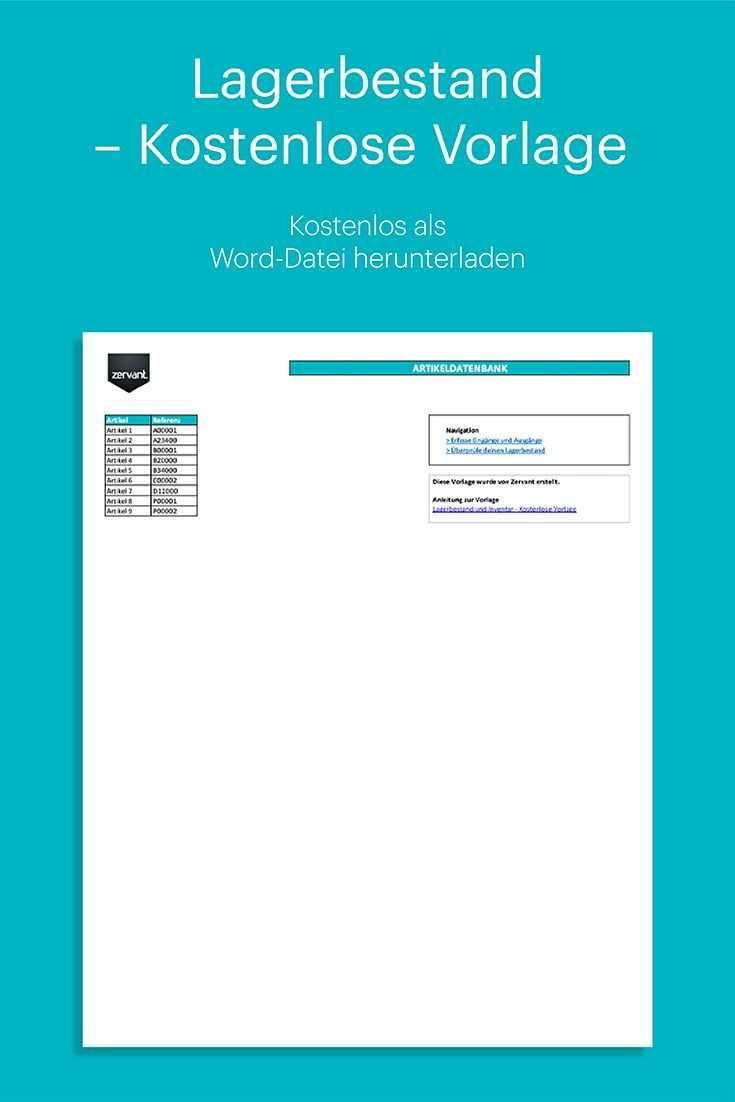 Lagerbestand Und Inventar Kostenlose Vorlage In Excel Vorlagen