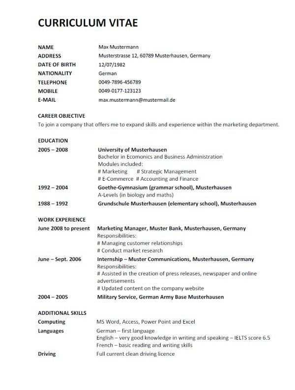 Lebenslauf Auf Englisch Inkl Muster Modelos De Curriculum Vitae