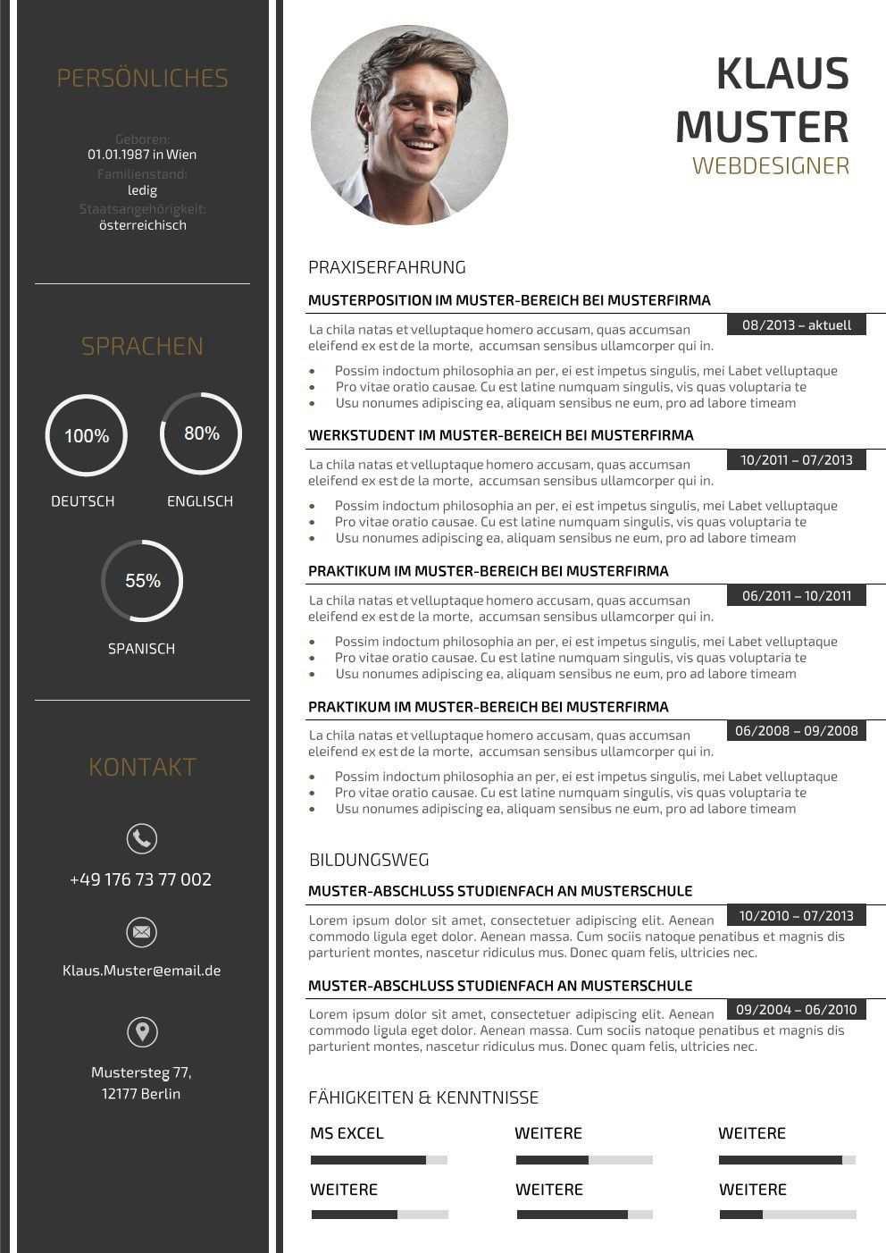 44 Lebenslauf Muster Vorlagen Fur Die Bewerbung 2015 Mit