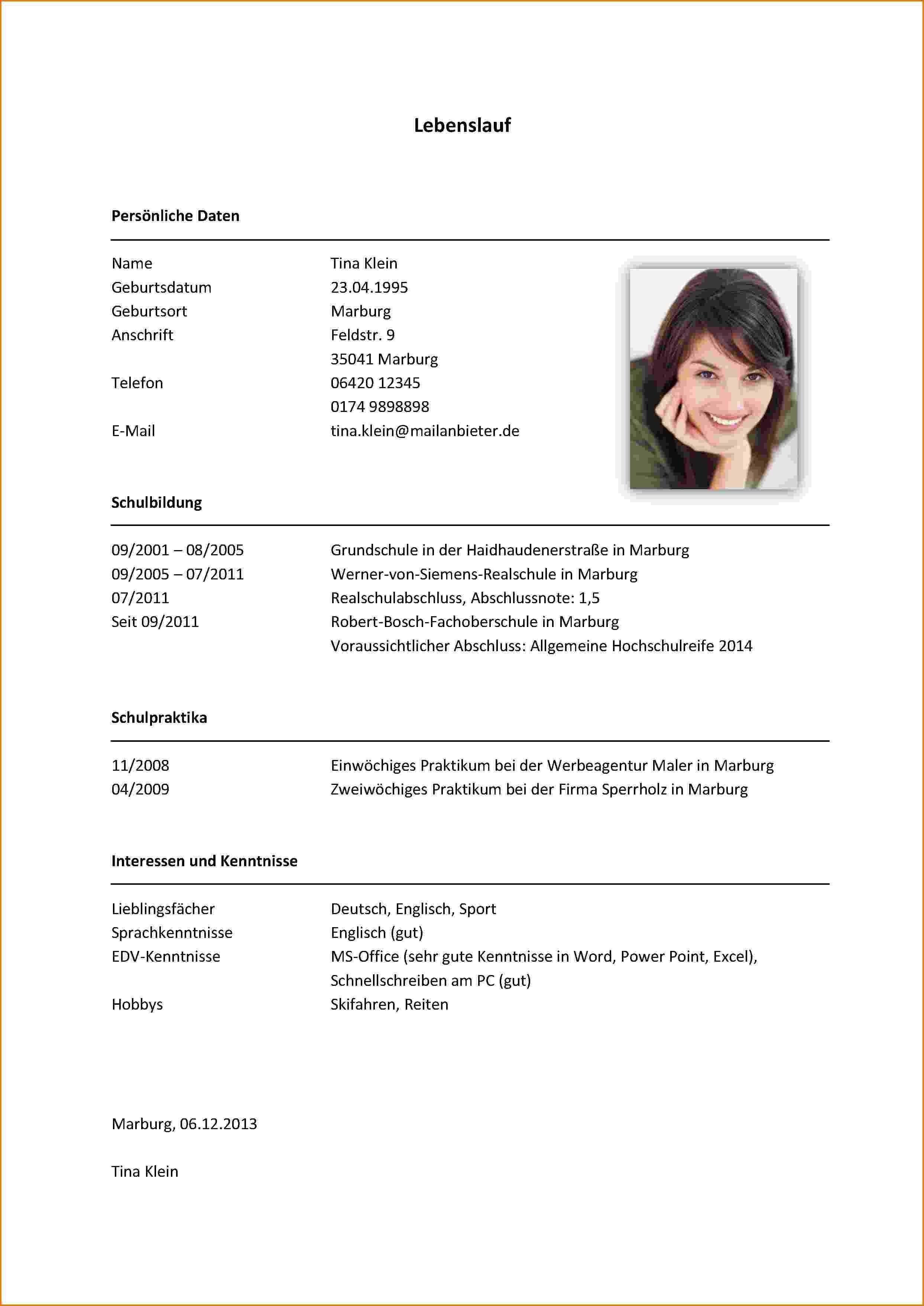 Lebenslauf Beispiel Student Lebenslauf Praktikum Vorlagen