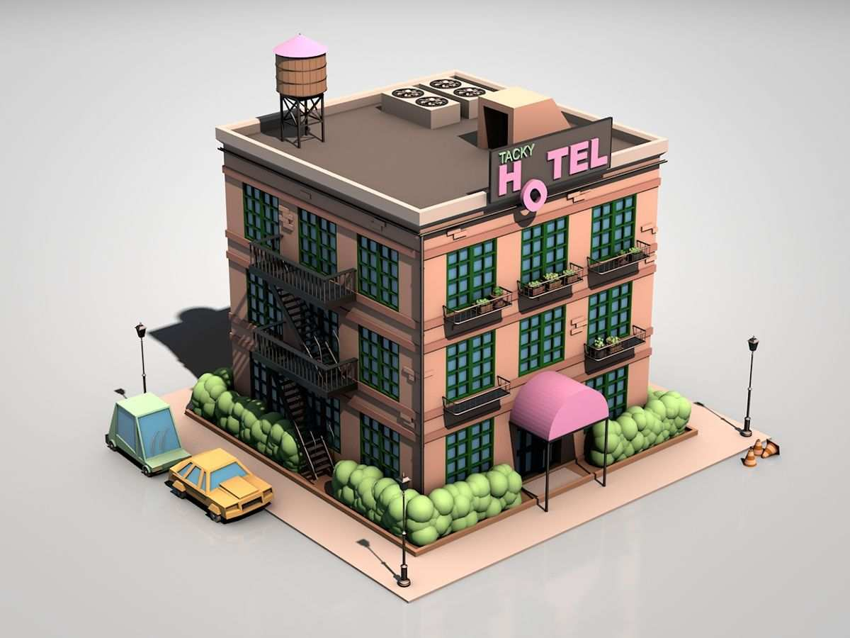 Tacky Hotel By Jonathan Egholm Isometric Design Isometric Art