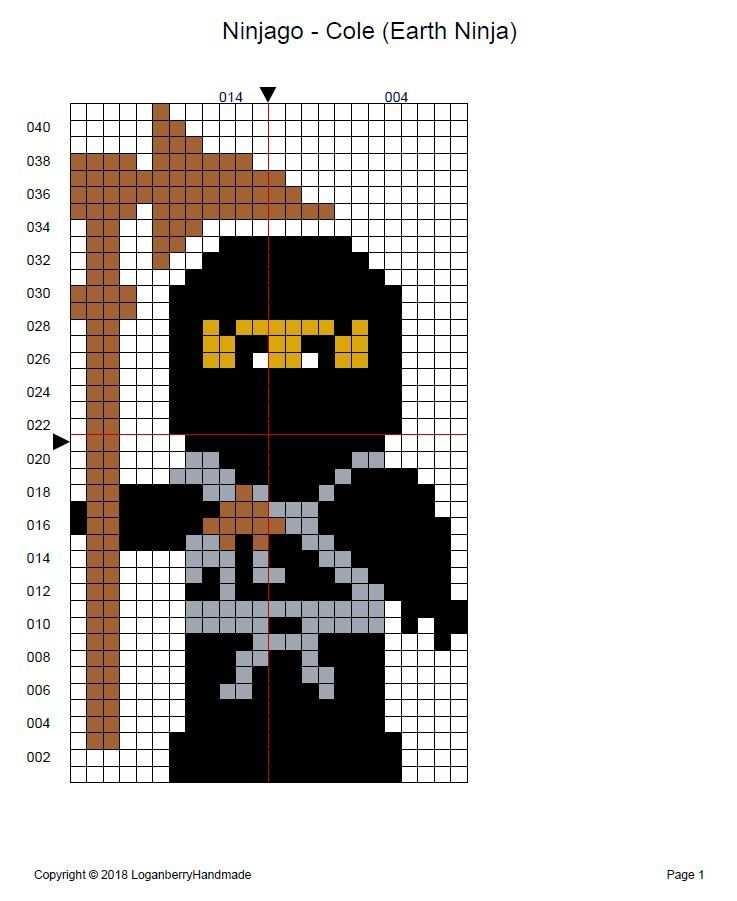 Lego Ninjago Cole Earth Ninja Cross Stitch Cross Stitch