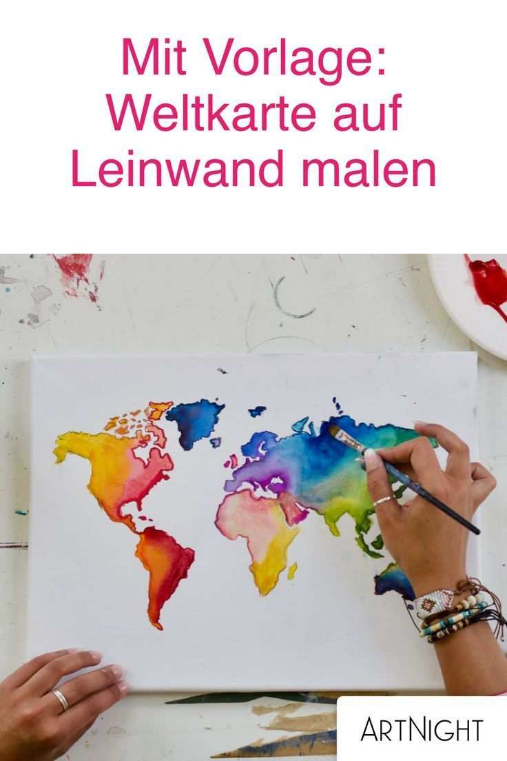 Weltkarte Malen Schritt Fur Schritt Zum Kunstwerk